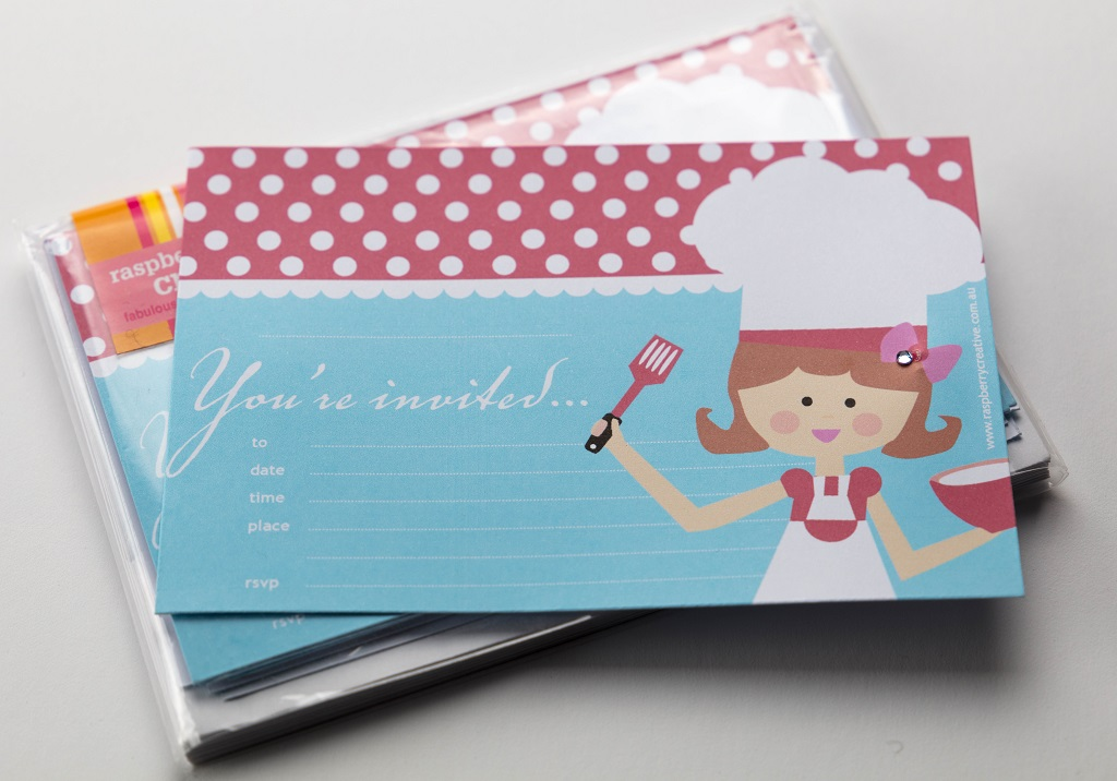 Raspberry Creative Birthday Invitation Girl Design