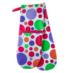 Double Oven Mitt White and Spots