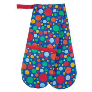 Double Oven Mitt Blue and Spots