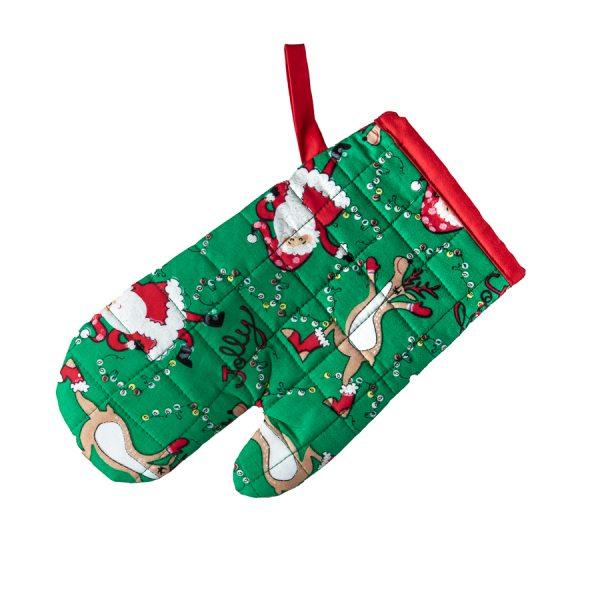Kids Oven Mitt Dancing Santa & Reindeer