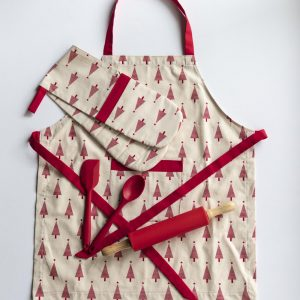 Apron and Double Oven Mitt Red Christmas trees