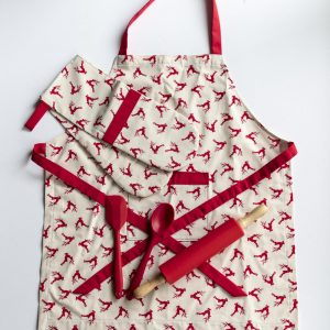 Apron and Double Oven Mitt Reindeer