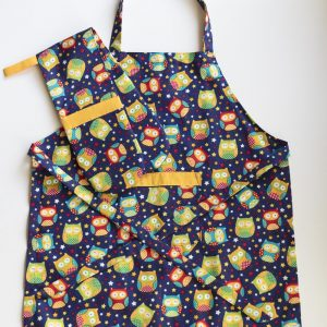 Owl Apron and Double Oven Mitt