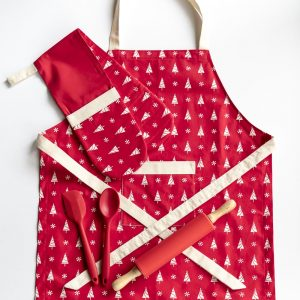 Red Apron and Double Oven Christmas tree and snowflake