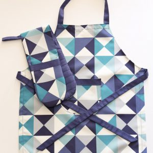Apron and Double Oven Mitt Blue Geometric